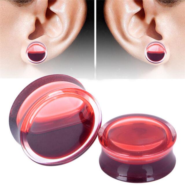 Blood Red Liquid Filled Ear Plugs Flesh Tunnels Earrings Saddle Gauges Chic  RAC