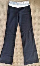 LULULEMON ASTRO PANTS Black w Gray Angel Wing Stripe Waist Yoga Gym size 6 EUC