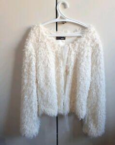 buy popular 223d1 5f6c0 Dettagli su Zuiki giacca eco pelliccia pelliccetta pelosa bianca donna  ragazza nuova