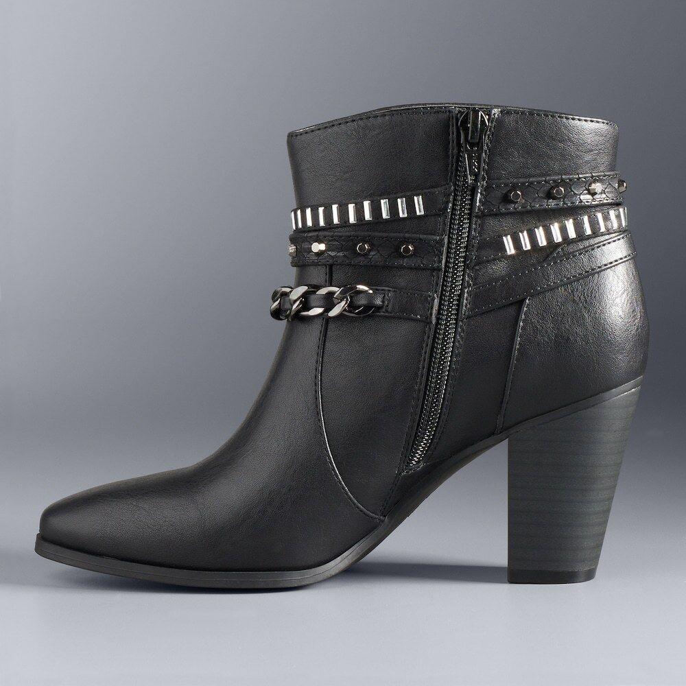 Damenschuhe 90 J LO JENNIFER LOPEZ Studded Dress Heel Ankle Stiefel Booties BLACK  7.5