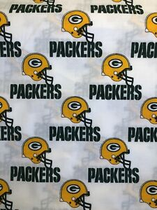 Green-Bay-Packers-White-100-Cotton-Fabric-Sold-By-1-2-Yard-18-x-58