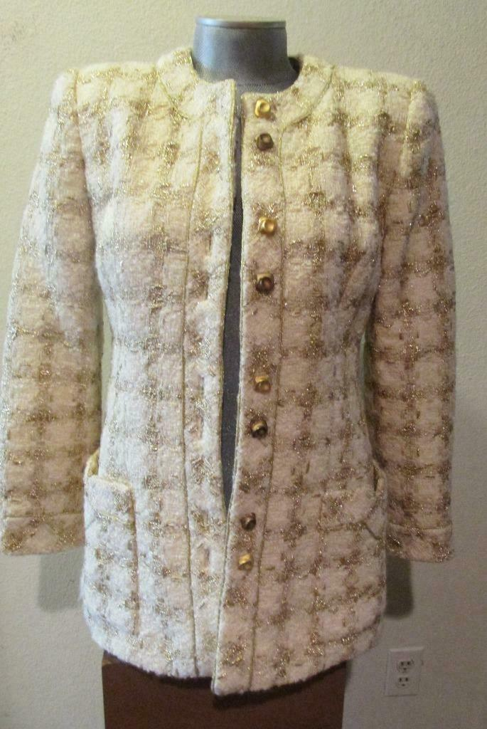 Vintage TRAVILLA Ivory & Gold Tunic Jacket 8 Beau… - image 2