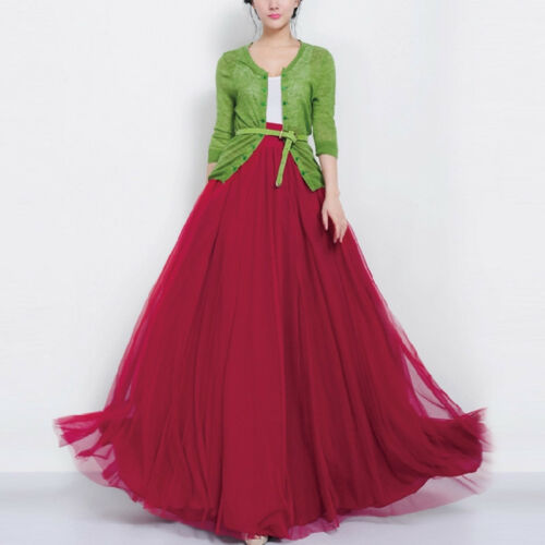 Women High Waist Multi Layer Tulle Maxi Skirts Evening Prom Party Cocktail Dress