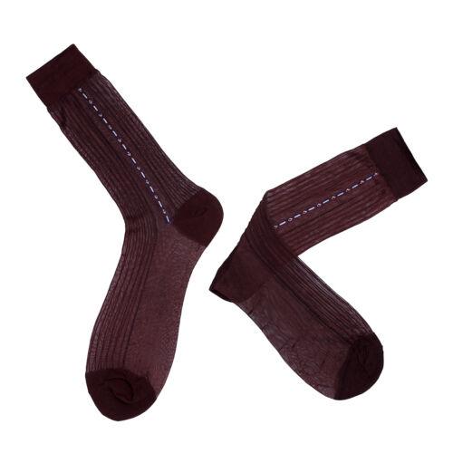 3 Paar Herren Socken dünne Jacquard Seidensocken Transparent gestreifte Socks