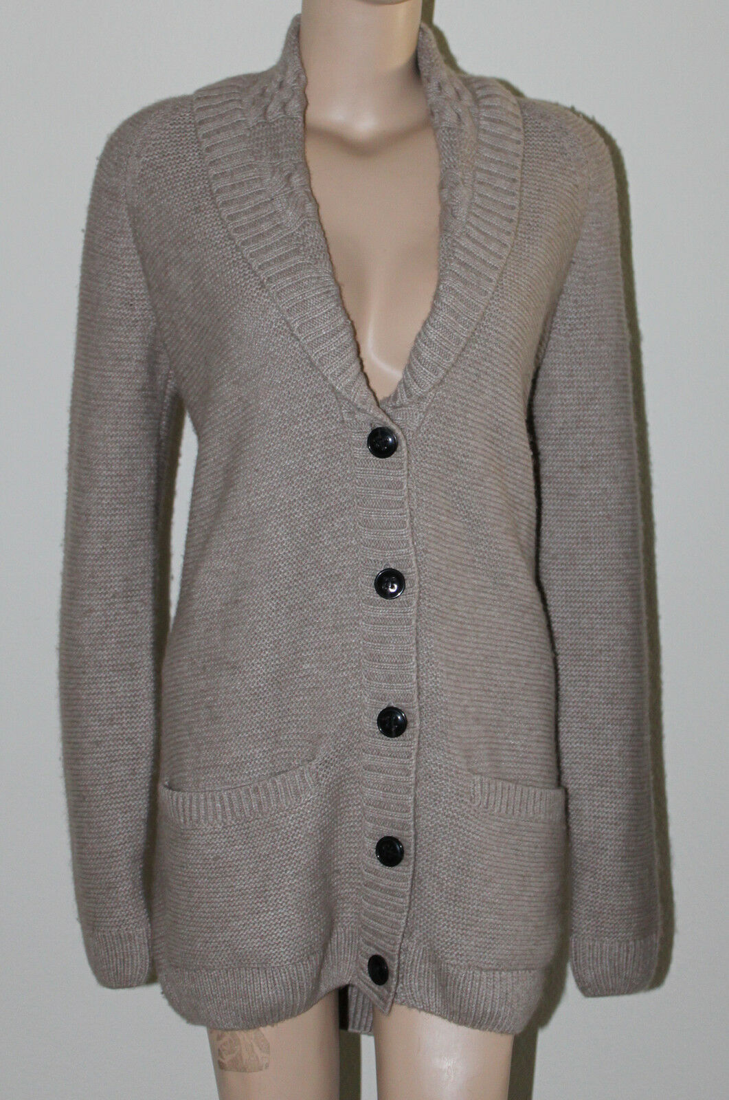 AUTH  225 Lacoste Women Wool Blend Shawl Collar Collar Collar Cardigan Sweater  40 8 a69ab3