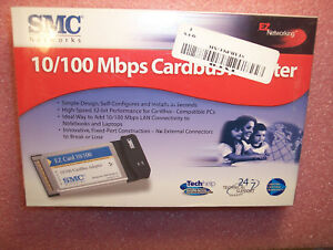 32-bit 10//100Mbps CardBus Adapter Ethernet SMC SMC8036TX PC Card 10//100