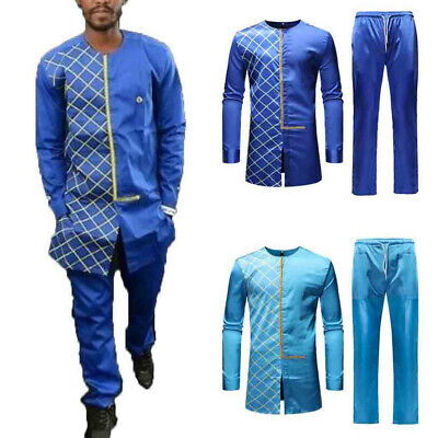 Handsome Men/'s Spring Solid Luxury African Print Long Sleeve Dashiki Shirt Suits