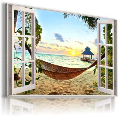 HAMMOCK BEACH SUNRISE SUMMER 3D Window View Canvas Wall Art Picture W7  MATAGA
