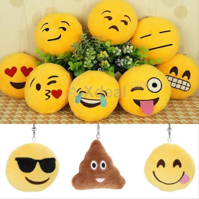Cute Yellow Emoji Emoticon Round Cushion Stuffed Plush Toy Key Chain Pendant New