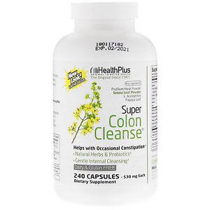 Health Plus SUPER COLON CLEANSE 500mg - 240 capsules CONSTIPATION RELIEF