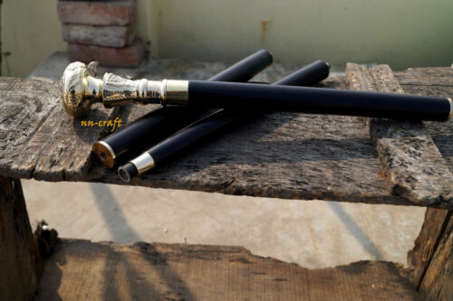 Vintage Brass Designer Knob Head Handle Wooden Shaft Walking Stick Cane Gift