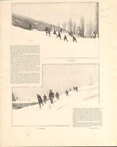 Chasseurs-Alpins-Alpes-Skis-Mont-Dauphin-FRANCE-GRAVURE-ANTIQUE-OLD-PRINT-1902