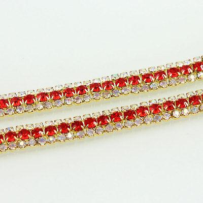 AB Rhinestone Claw Chain Trims Costume Applique Diamante Gold Silver 1 Yd 3 Row