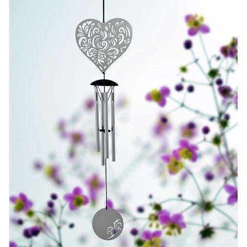 Woodstock cœur Flourish Wind Chime Petit Amour Coeur Carillon Argent Pretty summer