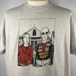 Vtg-Vanson-Leathers-American-Gothic-Shirt-Adult-XL-Double-Sided-Short-Sleeve