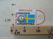STICKER,DECAL WK ARGENTINA 1978 VOETBAL,SOCCER JH HENKES ZWEDEN SWEDEN