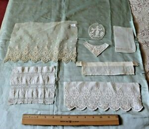 French-Antique-Lace-amp-Embroidery-Doll-Bundling-Group-7-Pieces-Bridal