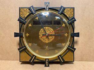 Pendule-design-JAZ-TRANSISTOR-VINTAGE-annees-60-70-039-verre-laiton-metal-dore