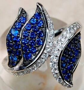 3CT-Blue-Sapphire-amp-White-Topaz-925-Solid-Sterling-Silver-Ring-Size-8