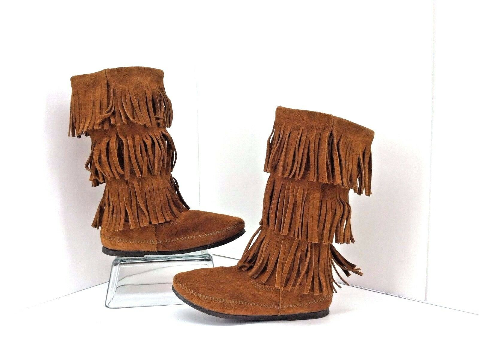 Minnetonka 3 Layer Fringe Brown Suede Moccasin Boots. Size 8 Style 1632