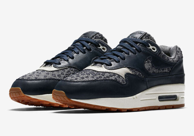 designer fashion 6d708 fbfae Womens Nike Air Max 1 PRM 454746-403 ObsidianObsidian Brand New Size 5