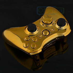Chrome Gold Xbox 360 Controller Shell with Buttons