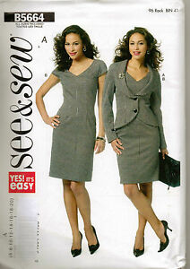 From-UK-Sewing-Pattern-Lady-039-s-Dress-Jacket-6-20-Butterick-5664
