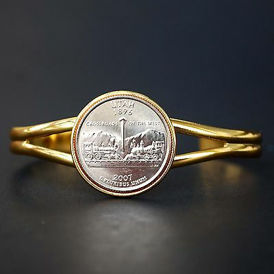 US 2007 Wyoming State Quarter BU Coin Genuine Leather Cuff Bracelet NEW