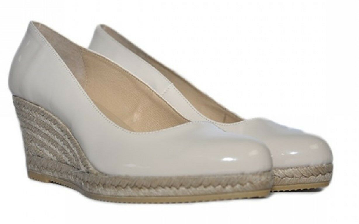 Último gran descuento PEDRO ANTON BEIGE PATENT 7cm  WEDGE  LEATHER LINED COMFORT ESPADRILLE