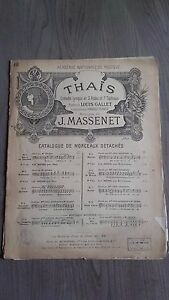Thais J.Massenet Spartito Piano Heugel Parigi Be 2 Persiane+1 Foglio