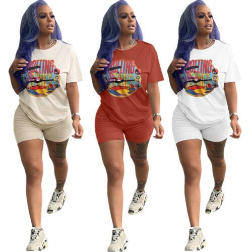 Spring /& Summer Women Short Sleeves Print T-shirt+Short Pants Set Outfits 2pcs