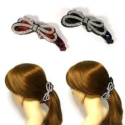 "Women Lady 4.33/"" Rhinestone Crystal Flower Banana Hair Clip Ponytail Barrette"