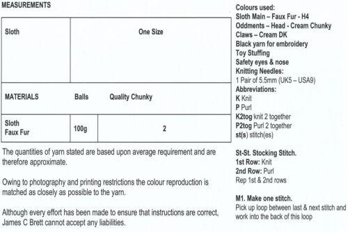 James brett chunky knitting pattern décollé Larry paresse jouet dans jb282 en fourrure synthétique