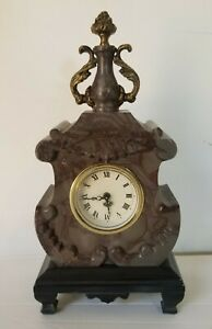 Antique-French-Style-Small-Marble-Clock-10-034-Tall