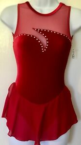GK-SLVLS-RED-VELVET-ICE-FIG-SKATE-ADULT-X-SMALL-ASYM-MESH-YOKE-JA-DRESS-AXS-NWT