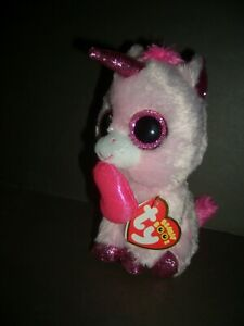 """Ty Valentine Beanie Boo Unicorn-""""Darling"""" 2019 Heart in Mouth-Sparkling eyes"""