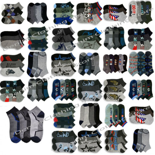 Wholesale Lot Men Mixed Assorted Designs Multi Colors Ankle Low Cut Socks  9-11