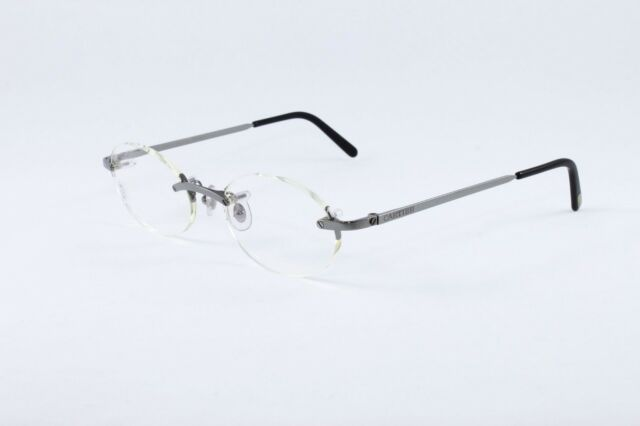 a34f8c809c Cartier Platinum Rimless Eyeglasses Rxable T8100449 Authentic France New  49-19