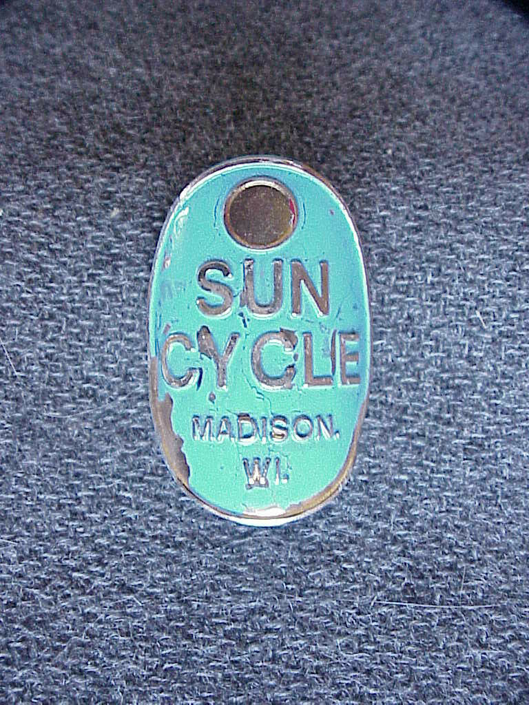 Vintage 1950's 1960's Sun Cycle Madison  Wisconsin Brass Head Tag Bicycle Frame  save up to 30-50% off