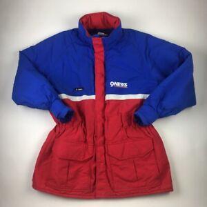 Vintage 80s 90s Womens Parka Puffer Ski Jacket Blue Color Block Zip Elastic XL