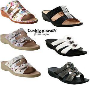 Womens-Ladies-Cushion-Walk-Jewel-Slip-On-Mid-Wedge-Heel-Mules-Summer-Sandals-3-8