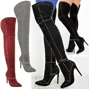 8cbdcaf1209e Womens Ladies Studded Over The Knee Thigh Boots High Heel Stilleto ...