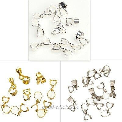 15Pcs Silver/Gold Plated 18KGP Pinch Clip Connectors Bails For Necklace Diy 12mm