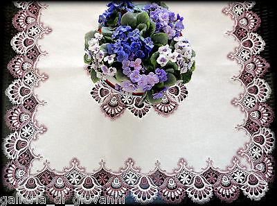 "Delicate Trim Misty Mauve Lace Table Topper  43""Sq  Doily  Estate Design"