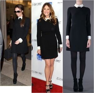 Black shirt dress contrast white cuffs and collar celebrity 60 039 s