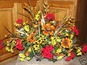 Fall-Funeral-Cemetery-Fathers-Day-Grave-Flowers-Sunflowers-Thanksgiving-Holidays