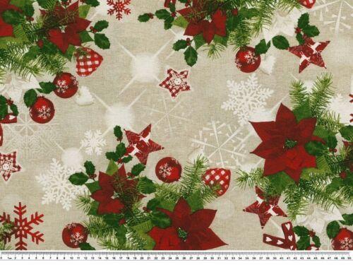 leinen-rot-grün Weihnachtssterne 140cm Weihnachtsstoff