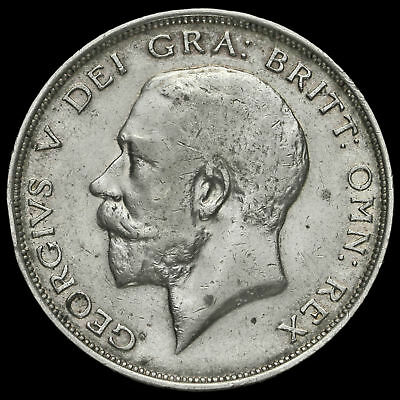 1913 George V Silver Half Crown, Rare, GF