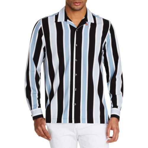 Tallia Sport Mens Camp Collared Striped Wicking Button-Down Shirt Top BHFO 6322