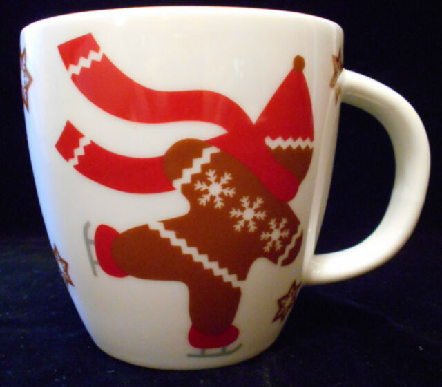 Crate & Barrel NEW Childs Mug Skating Gingerbread Man Coffee Mug Tea Cup 5n45